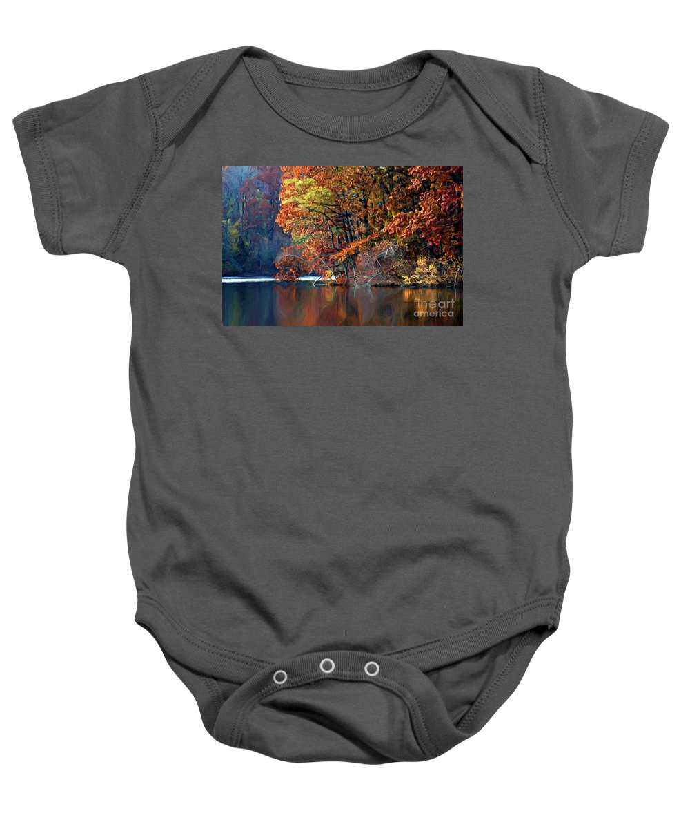 Painting Baby Onesie featuring the photograph A Painting Barney's Autumn Pond by Mike Nellums