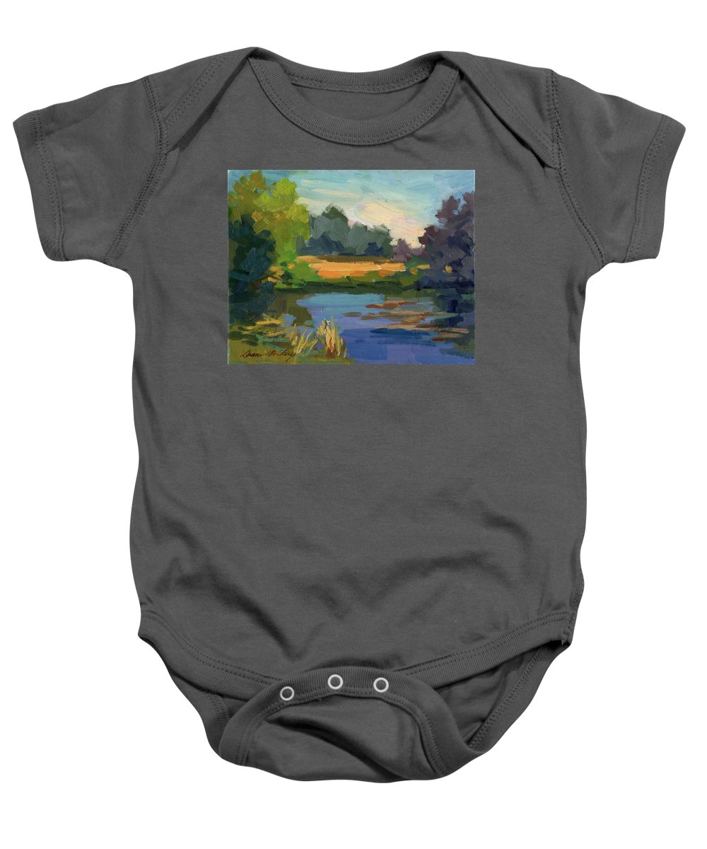 Lake Baby Onesie featuring the painting A Patch Of Sun by Diane McClary