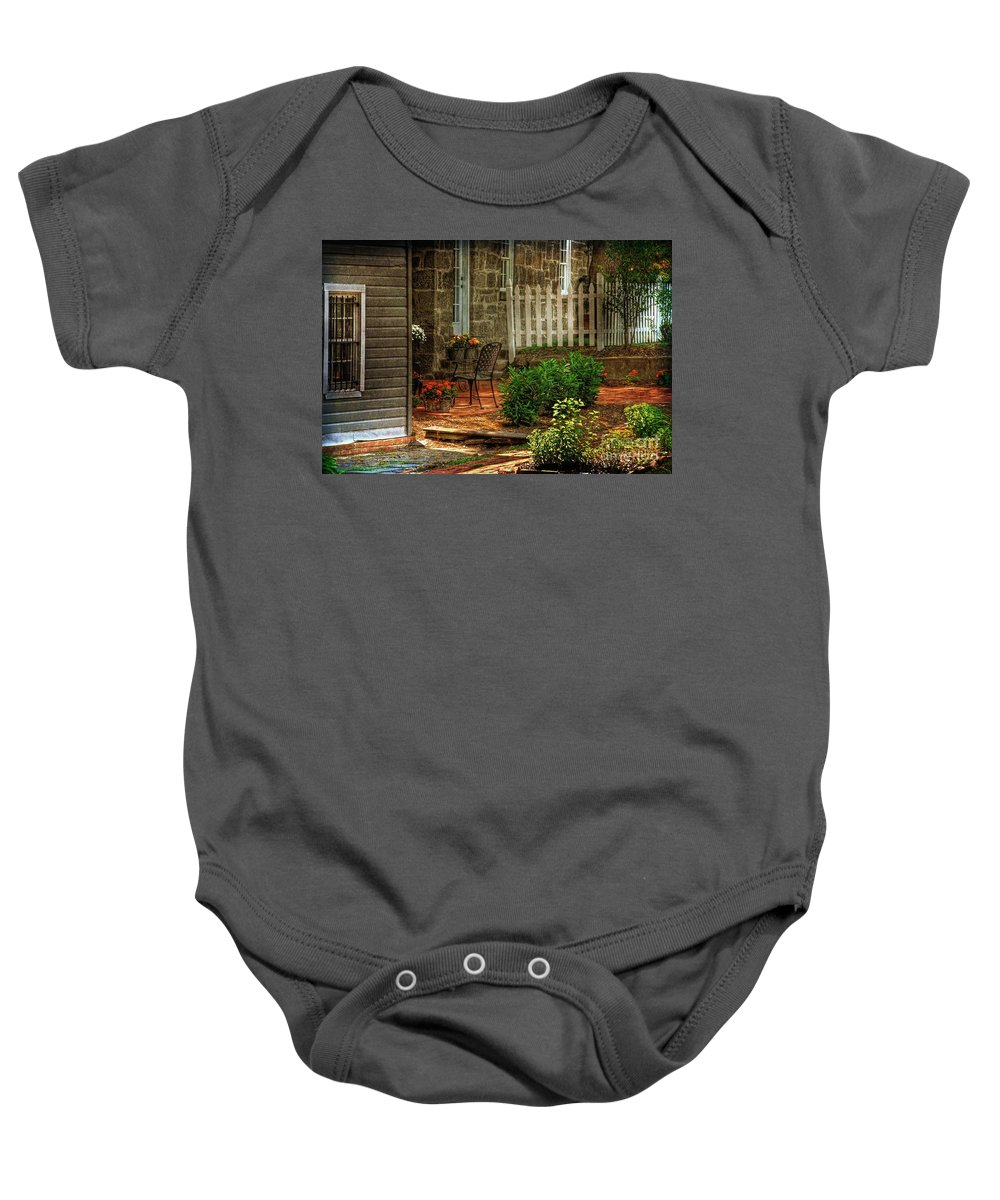 Architecture Baby Onesie featuring the photograph A Seat In The Shade by Lois Bryan