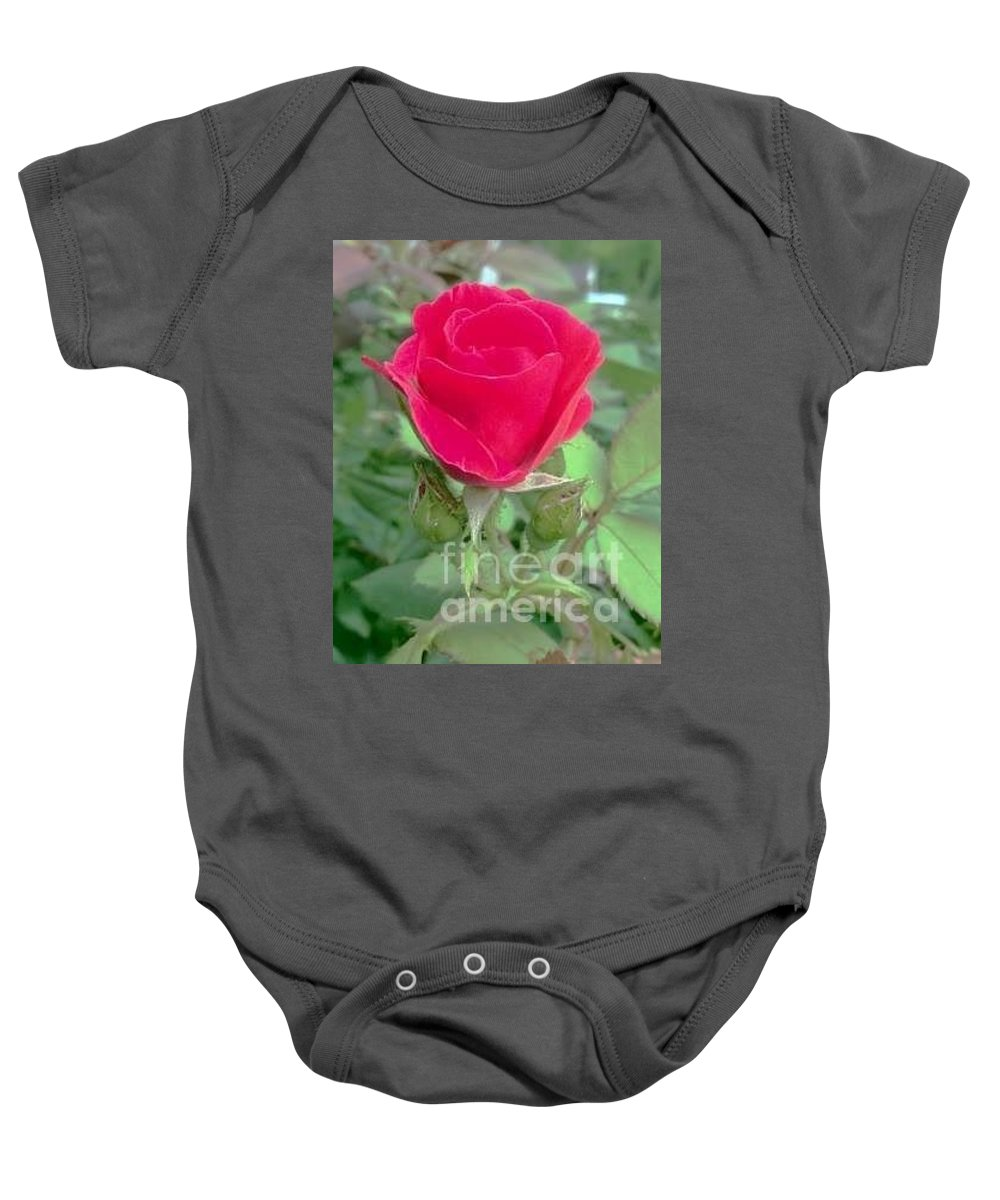 Flower Baby Onesie featuring the photograph A Single Red Rose by Christy Gendalia