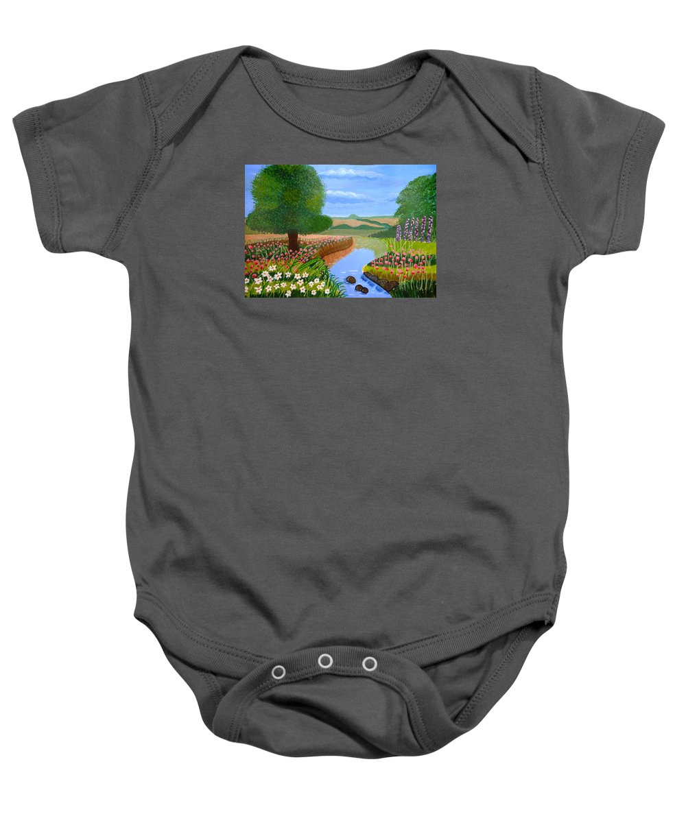 Sky Baby Onesie featuring the painting A Spring Stream by Magdalena Frohnsdorff