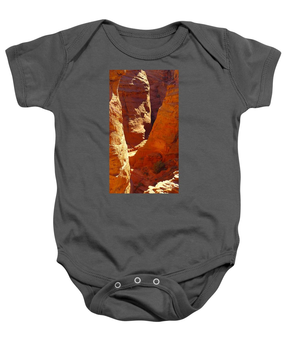 Landscape Baby Onesie featuring the photograph A Sun Soaked Dry Gulch by Jeff Swan