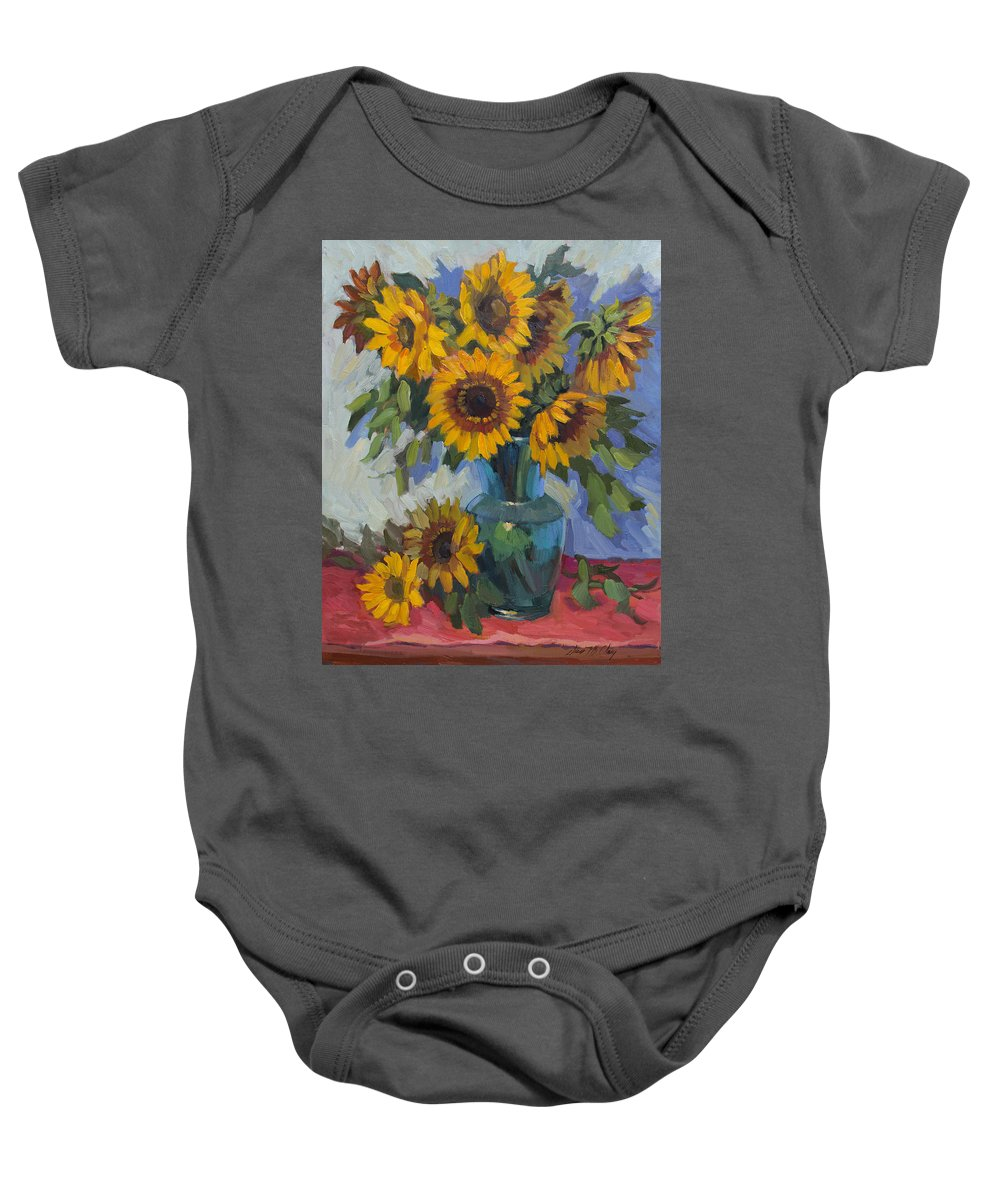 Sunflowers Baby Onesie featuring the painting A Sunflower Day by Diane McClary