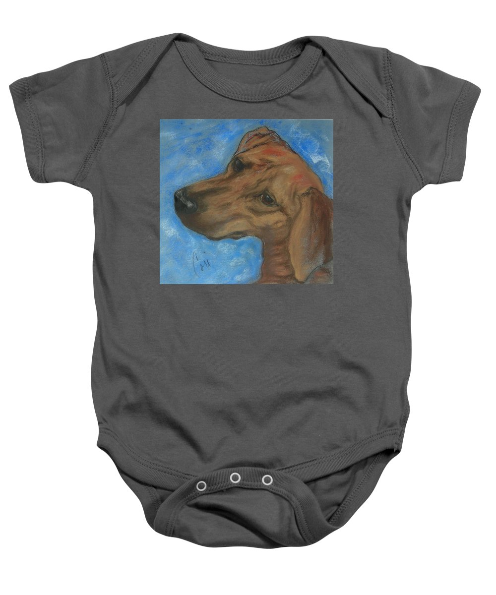Pastel Baby Onesie featuring the drawing A Twist Of Might by Cori Solomon