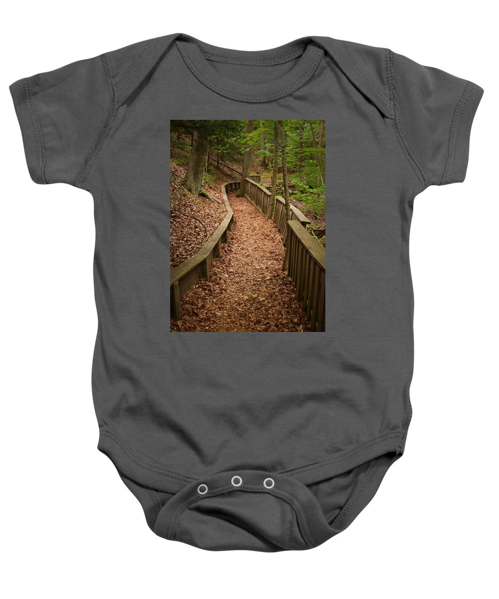 3scape Baby Onesie featuring the photograph A Walk In The Woods by Adam Romanowicz