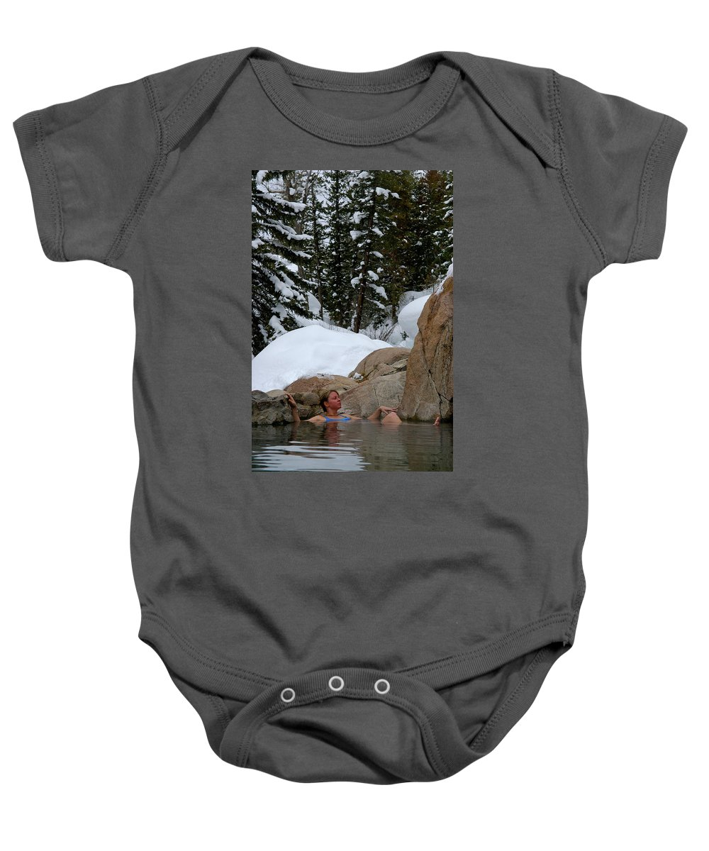 25-35 Years Baby Onesie featuring the photograph A Woman At A Natural Hot Springs by Celin Serbo