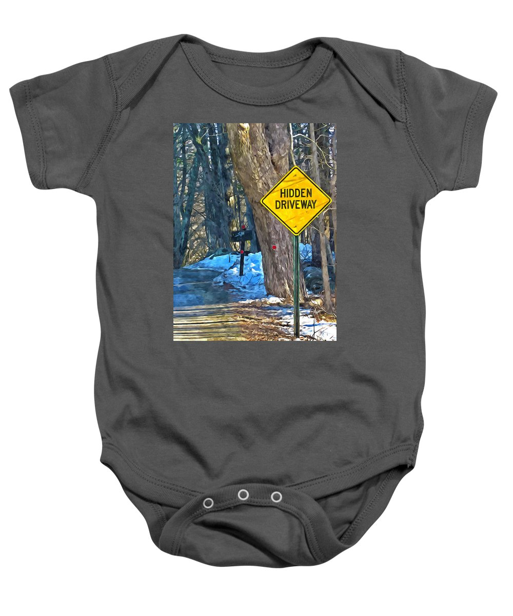 Asphalt Baby Onesie featuring the painting A Yellow Diamond Sign With The Words Hidden Driveway On The Side by Jeelan Clark