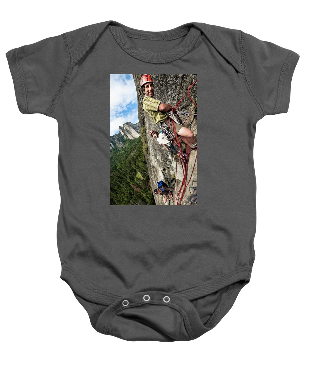 10-11 Years Baby Onesie featuring the photograph A Young Boy And Climbers In Yosemite by Kevin Steele