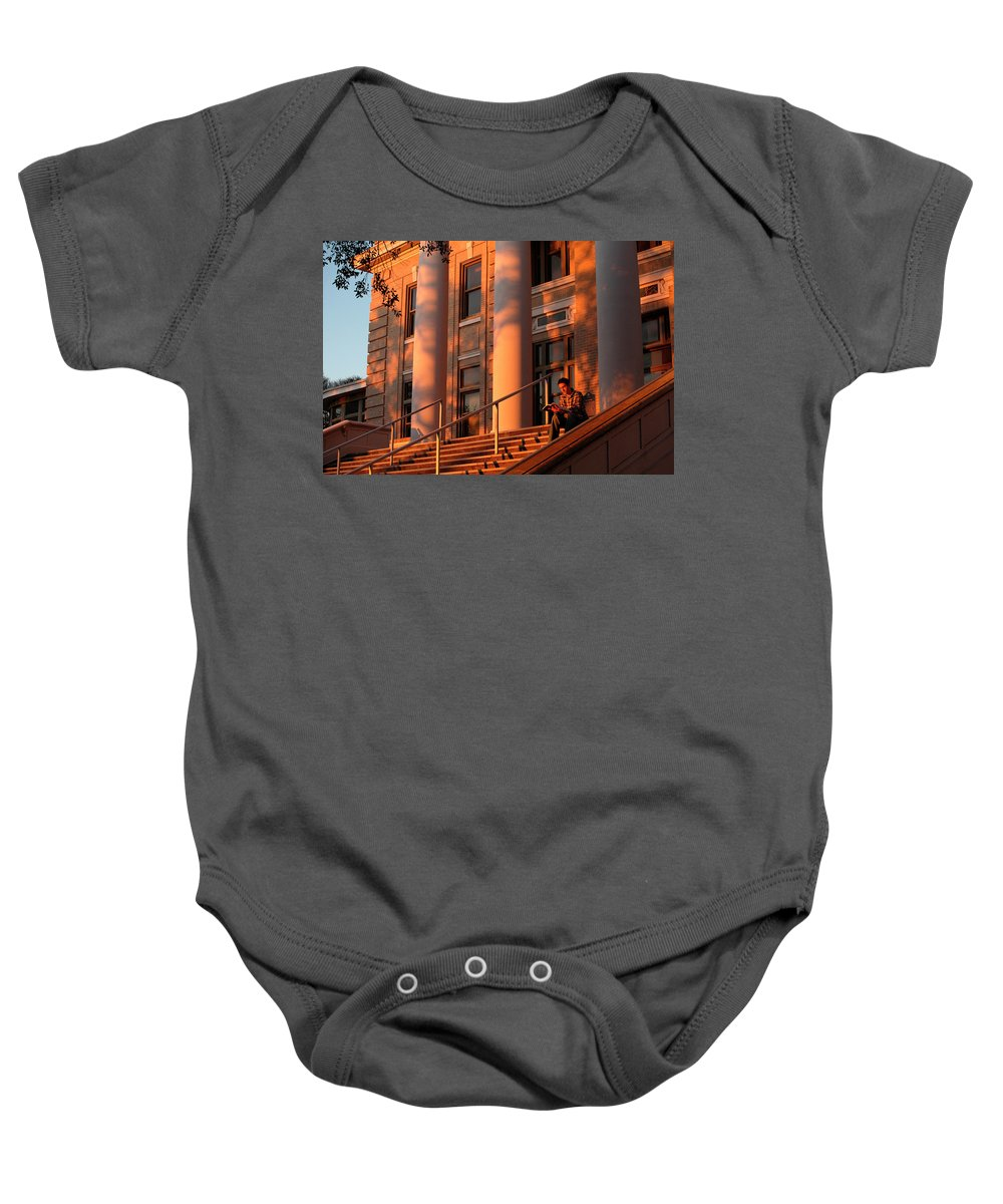 20s Baby Onesie featuring the photograph A Young Caucasian Male Student Sits by Robb Kendrick