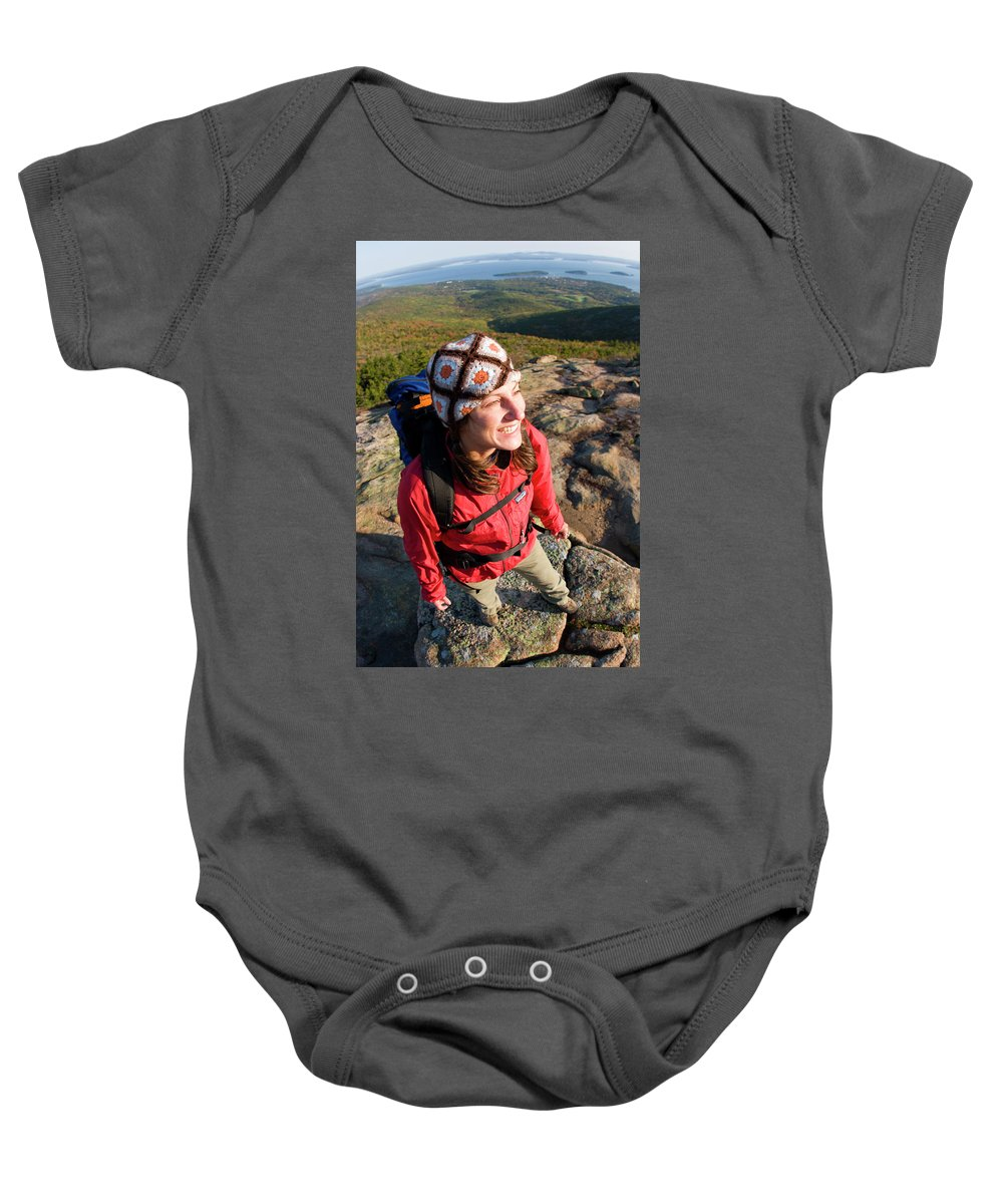 25-35 Years Baby Onesie featuring the photograph A Young Woman Hiking On Cadillac by Justin Bailie