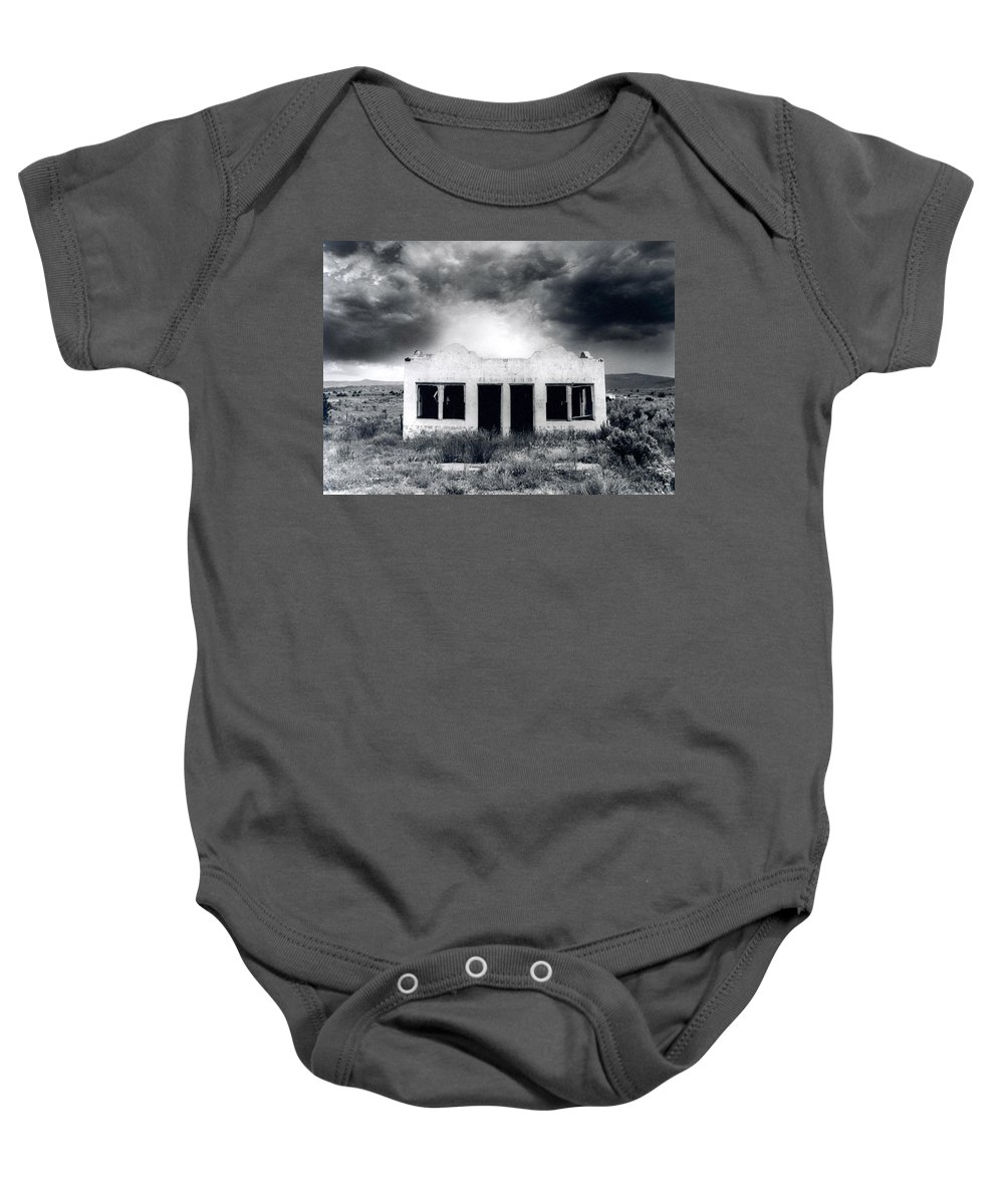 Photography Baby Onesie featuring the photograph Abandoned Gas Station In Nm by Timothy Bischoff
