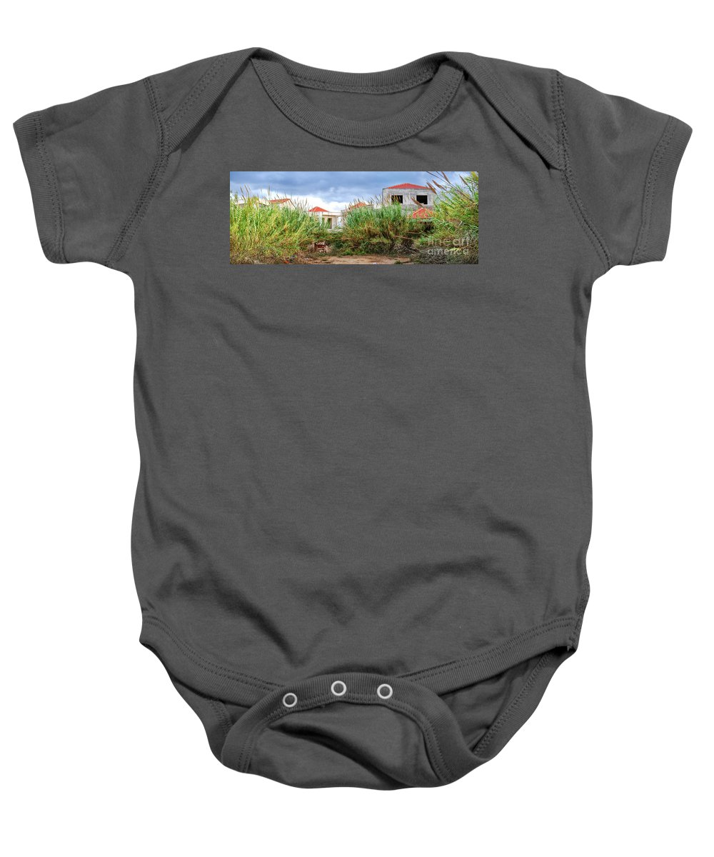 Abandoned Baby Onesie featuring the photograph Abandoned Holiday Resort by Antony McAulay