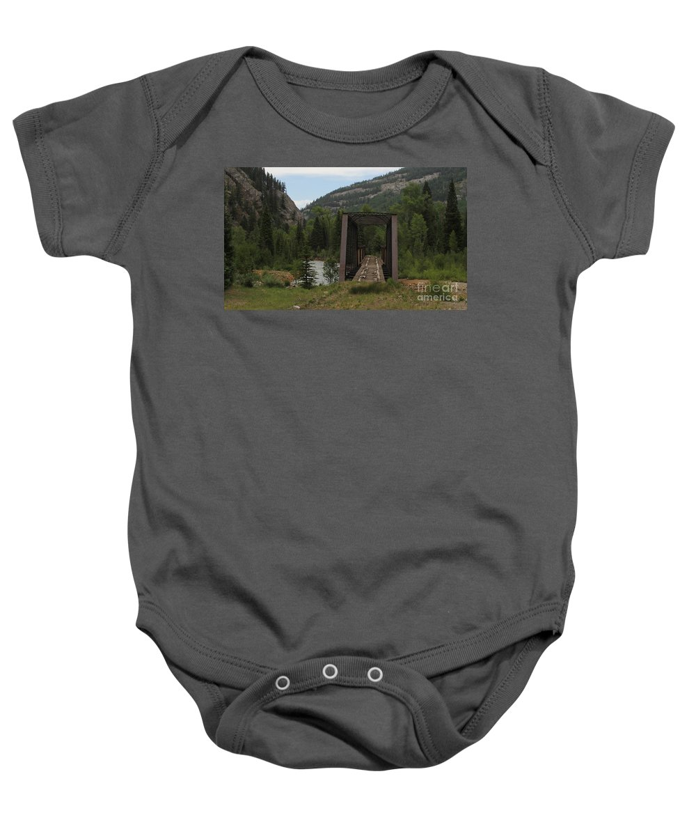 Landscape Railroad Baby Onesie featuring the photograph Abandoned Trestle Along The Animas by Greg Plamp