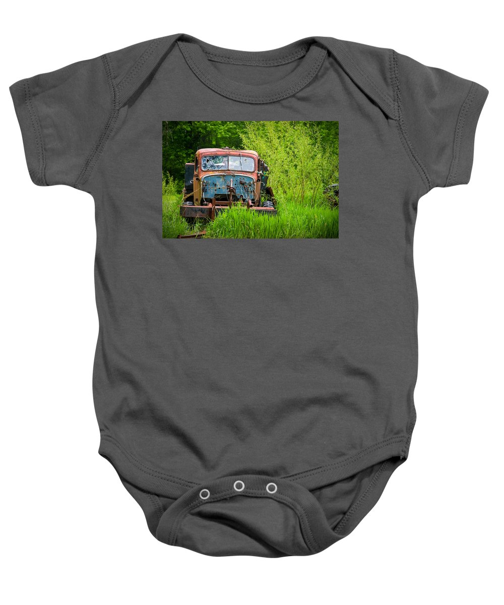 3scape Photos Baby Onesie featuring the photograph Abandoned Truck In Rural Michigan by Adam Romanowicz