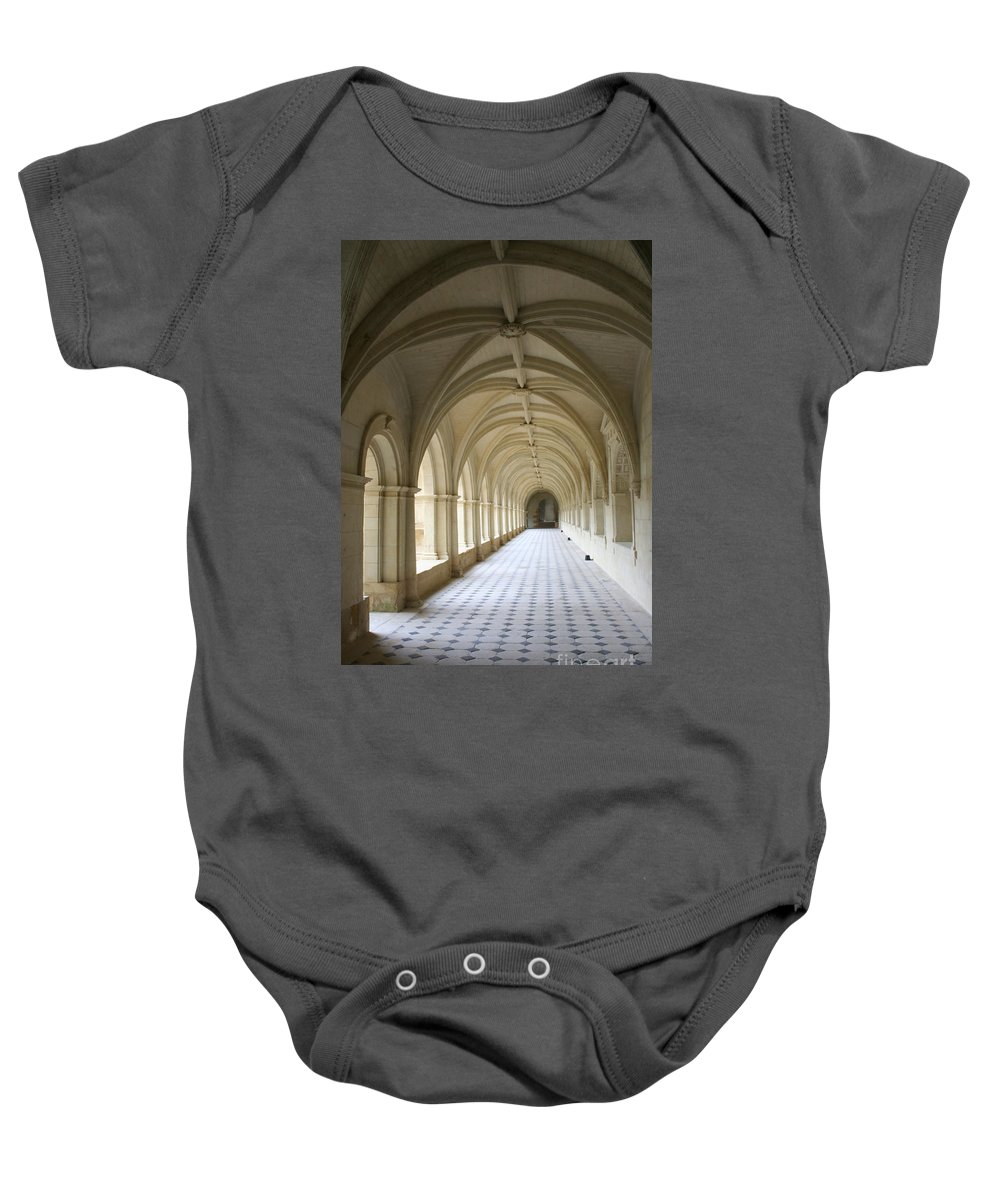 Cloister Baby Onesie featuring the photograph Abbaye De Frontevraud Cross Coat by Christiane Schulze Art And Photography