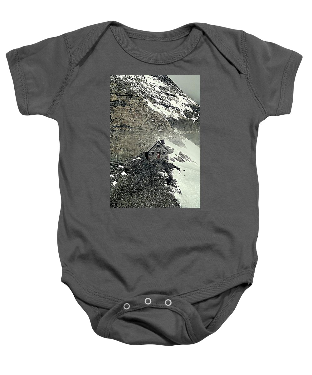 Canadian Rockies Baby Onesie featuring the photograph Abbot's Hut 2 by Steve Harrington