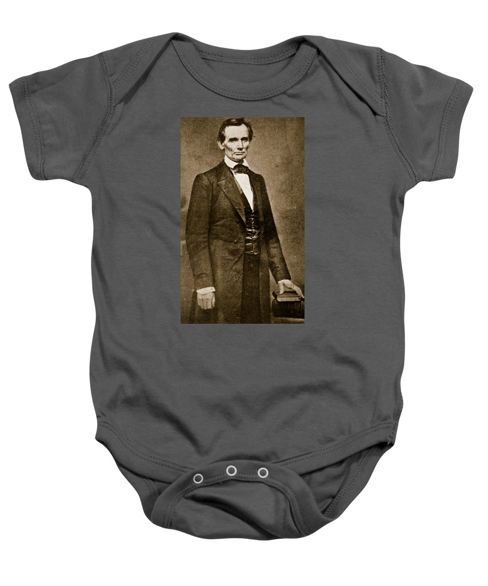 Union Baby Onesie featuring the photograph Abraham Lincoln by Mathew Brady