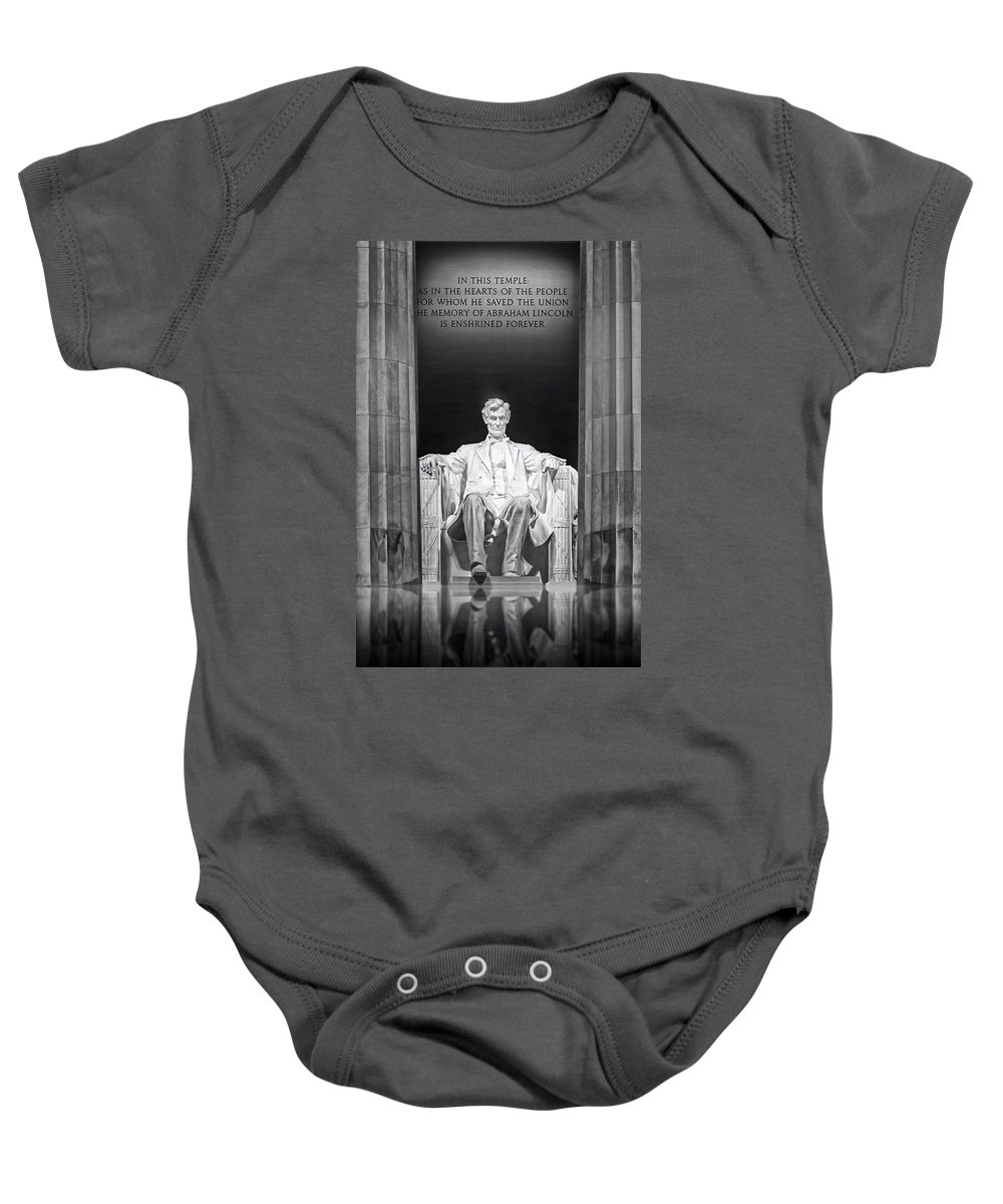 Abraham Lincoln Baby Onesie featuring the photograph Abraham Lincoln Memorial by Susan Candelario