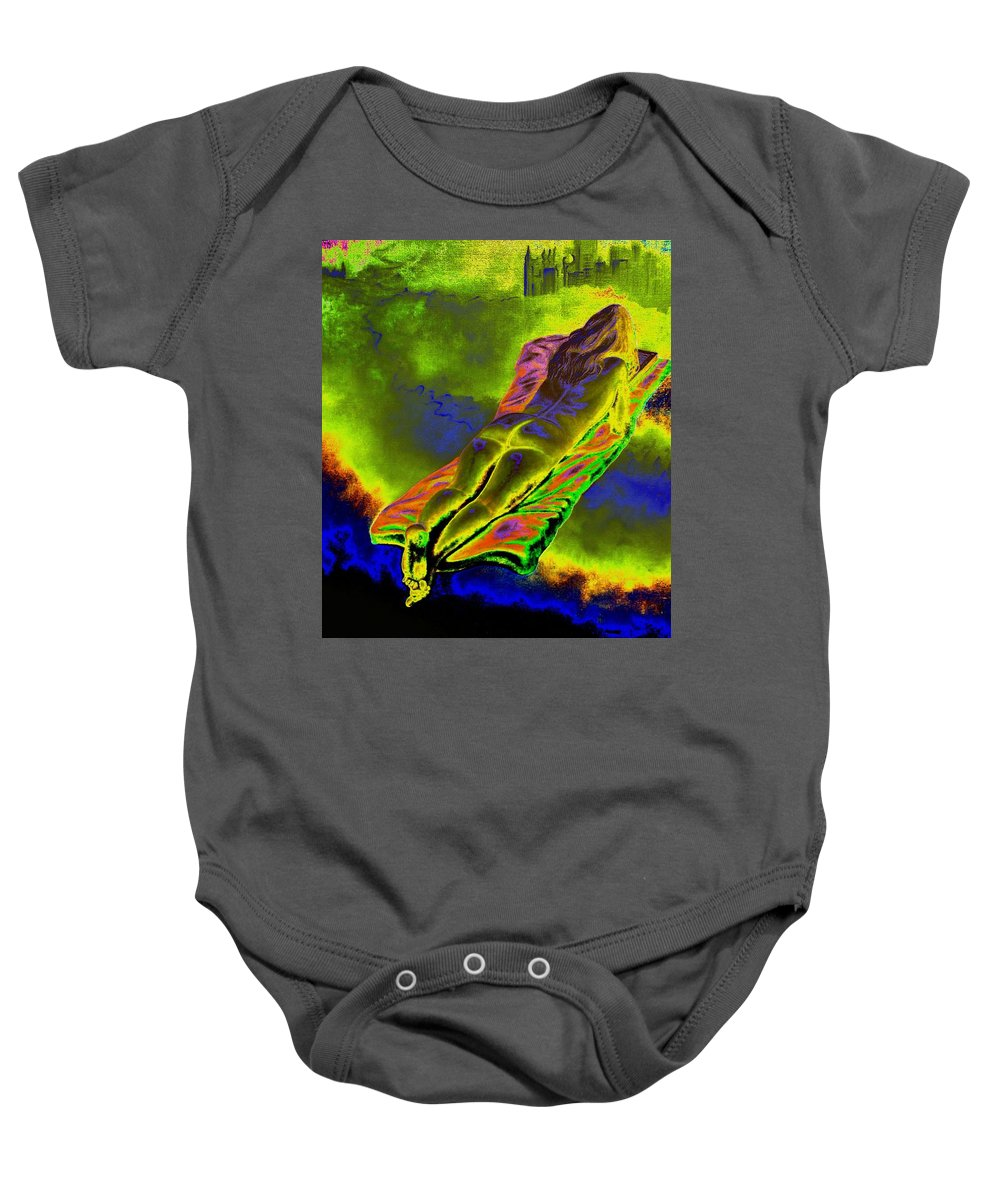 Genio Baby Onesie featuring the mixed media Absorbed By Tales Of Books by Genio GgXpress