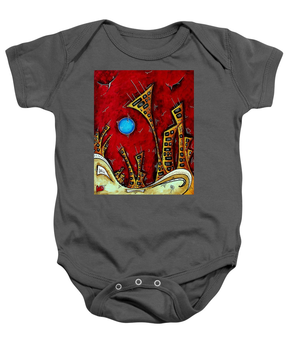 Abstract Baby Onesie featuring the painting Abstract City Cityscape Art Original Painting Stand Tall By Madart by Megan Duncanson