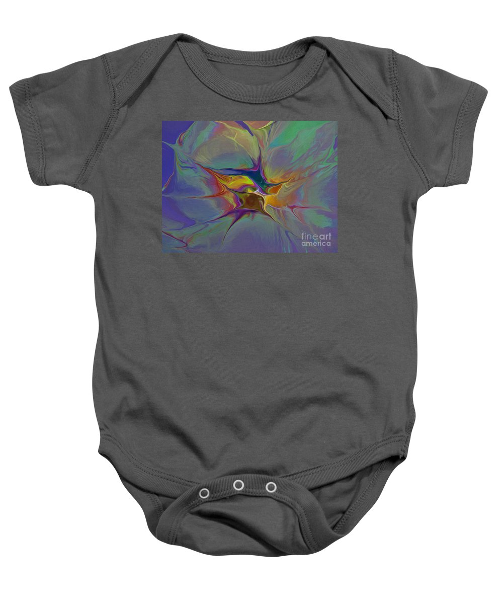 Abstract Baby Onesie featuring the digital art Abstract Explosion by Deborah Benoit