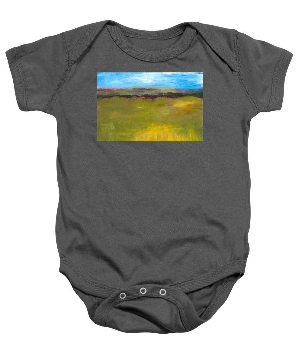 Abstract Expressionism Baby Onesie featuring the painting Abstract Landscape - The Highway Series by Michelle Calkins