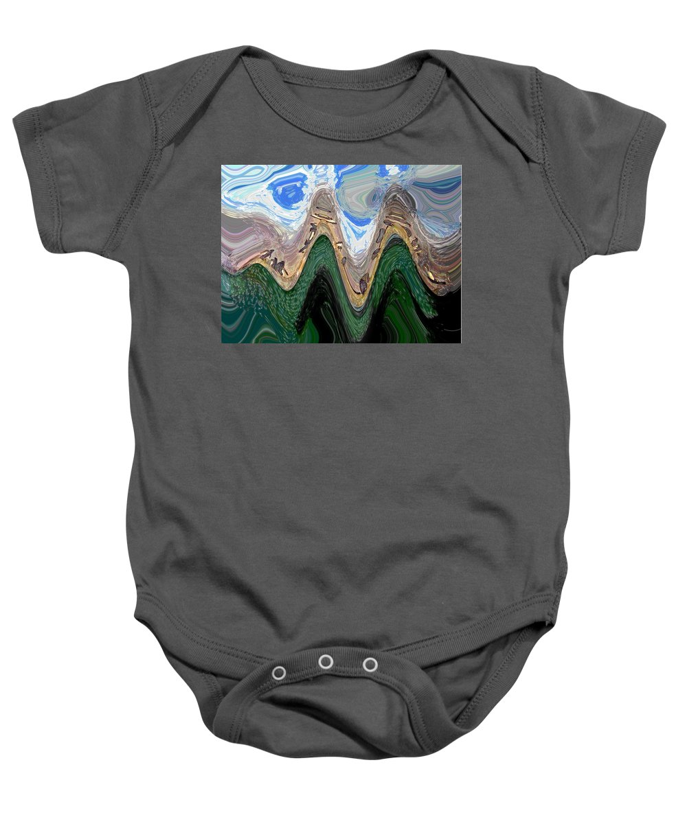 Computer Graphics Baby Onesie featuring the photograph Abstract - Penguins On Ice by Marian Bell