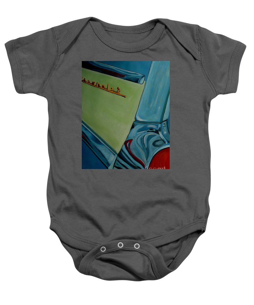 Chevy Baby Onesie featuring the painting Chevrolet by Anthony Dunphy