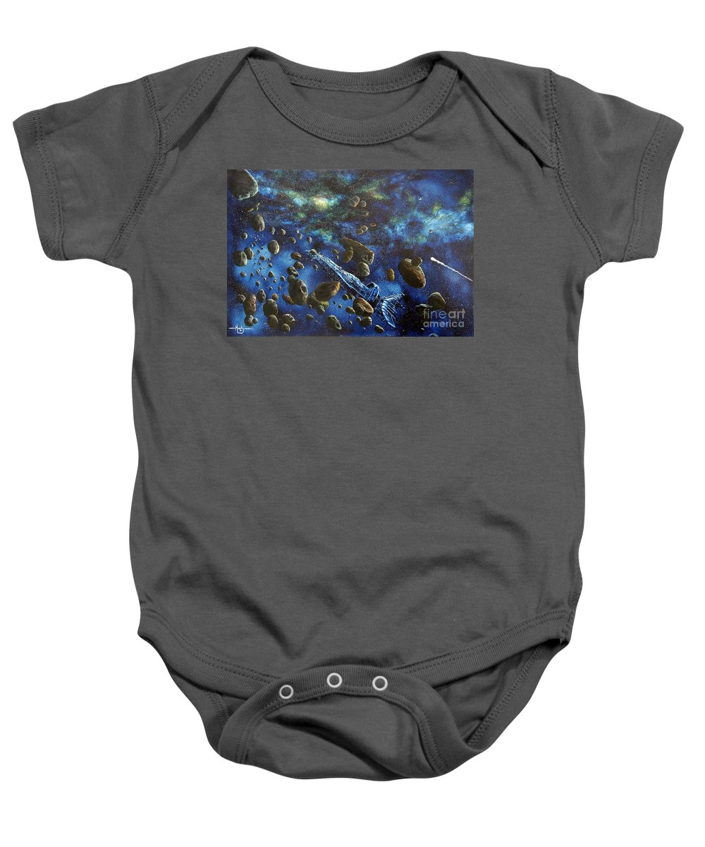 Astro Baby Onesie featuring the painting Accidental Asteroid by Murphy Elliott