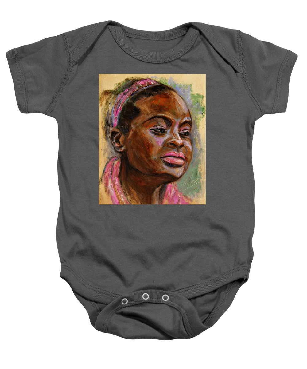 Woman Baby Onesie featuring the painting African American 3 by Xueling Zou