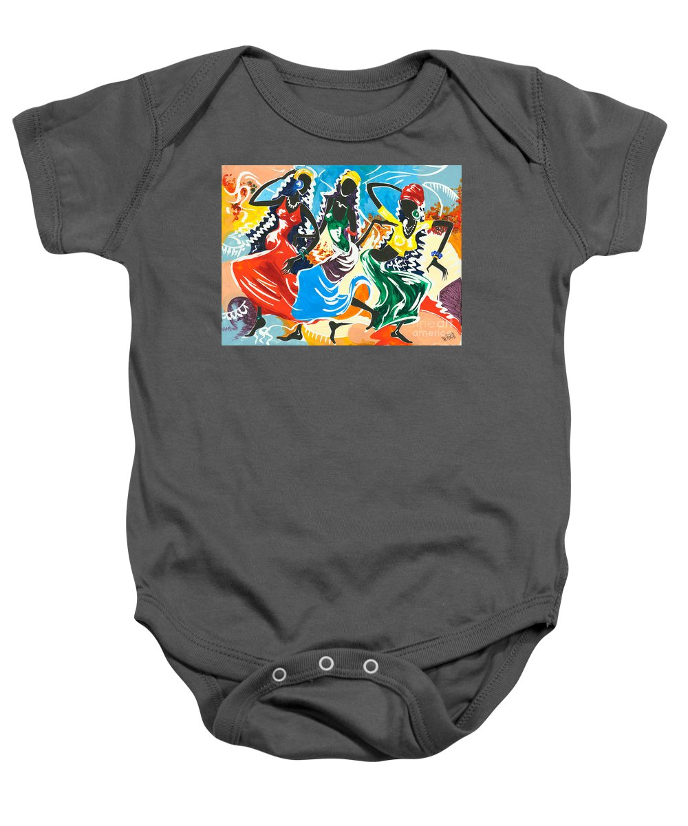 Canvas Prints Baby Onesie featuring the painting African Dancers No. 2 by Elisabeta Hermann