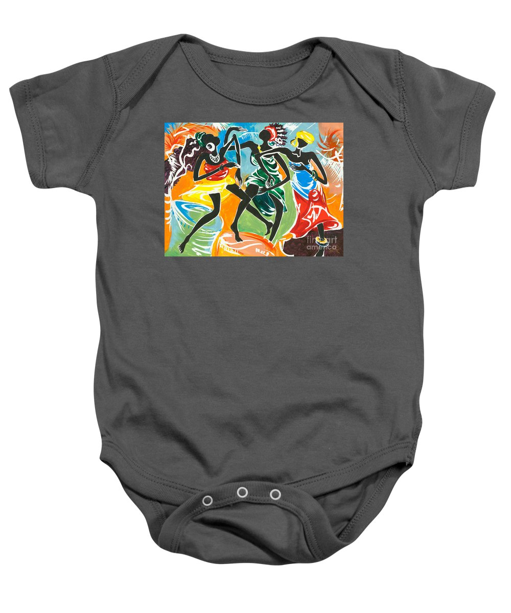 African Baby Onesie featuring the painting African Dancers No. 3 by Elisabeta Hermann