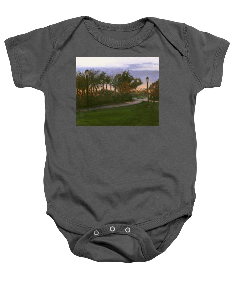 June Baby Onesie featuring the painting After The Rain by Sarah Yuster