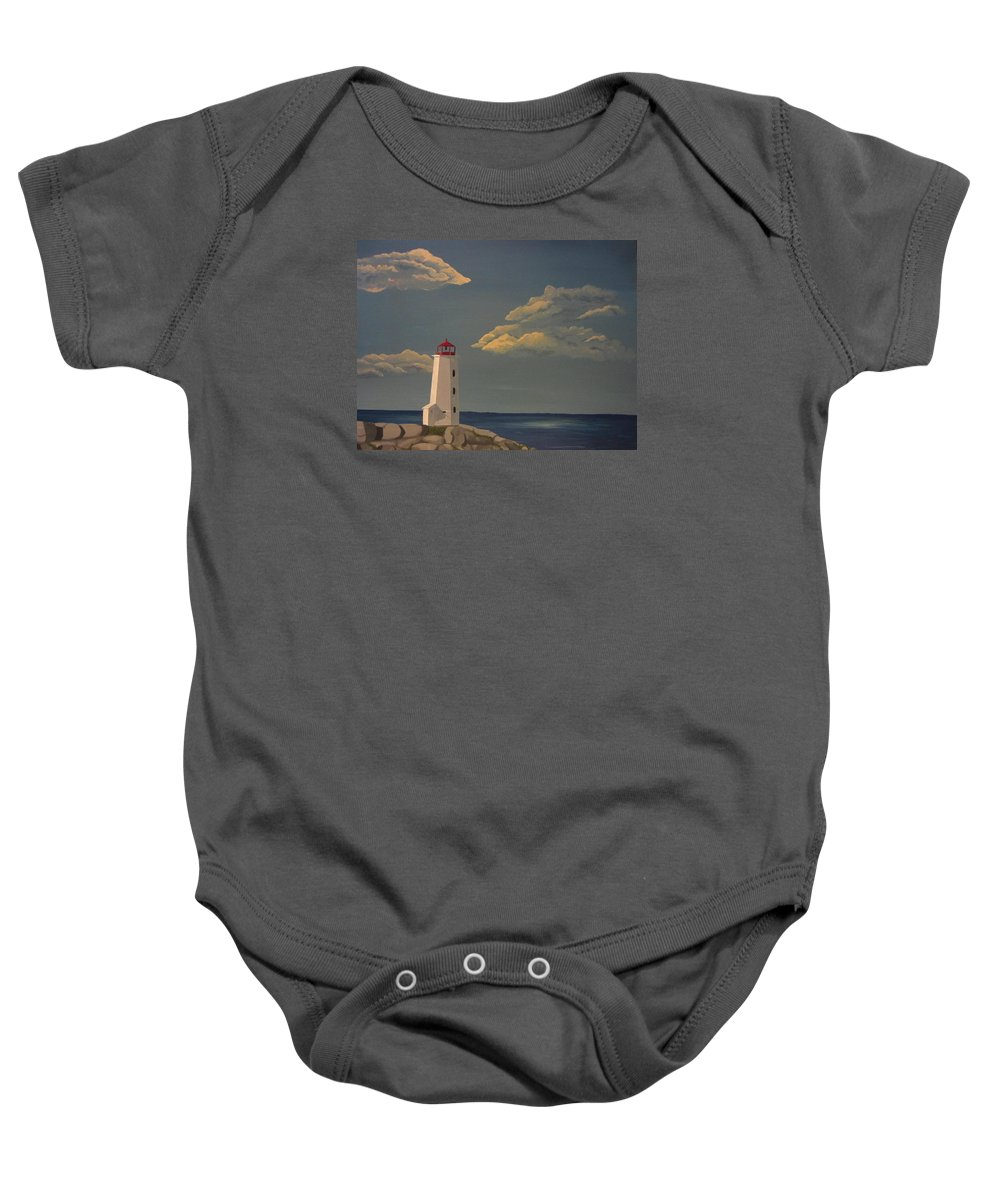 Lighthouse Baby Onesie featuring the painting After The Storm by Lana Arft
