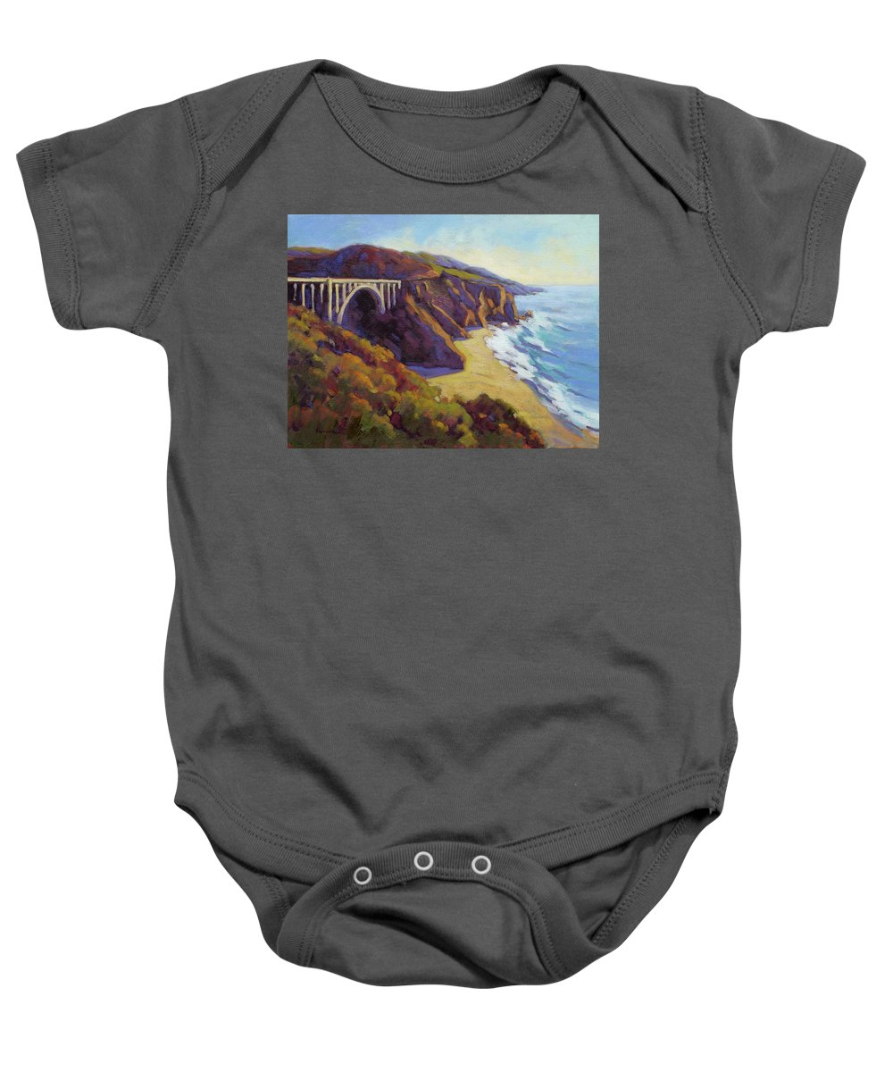 Big Baby Onesie featuring the painting Afternoon Glow 3 / Big Sur by Konnie Kim