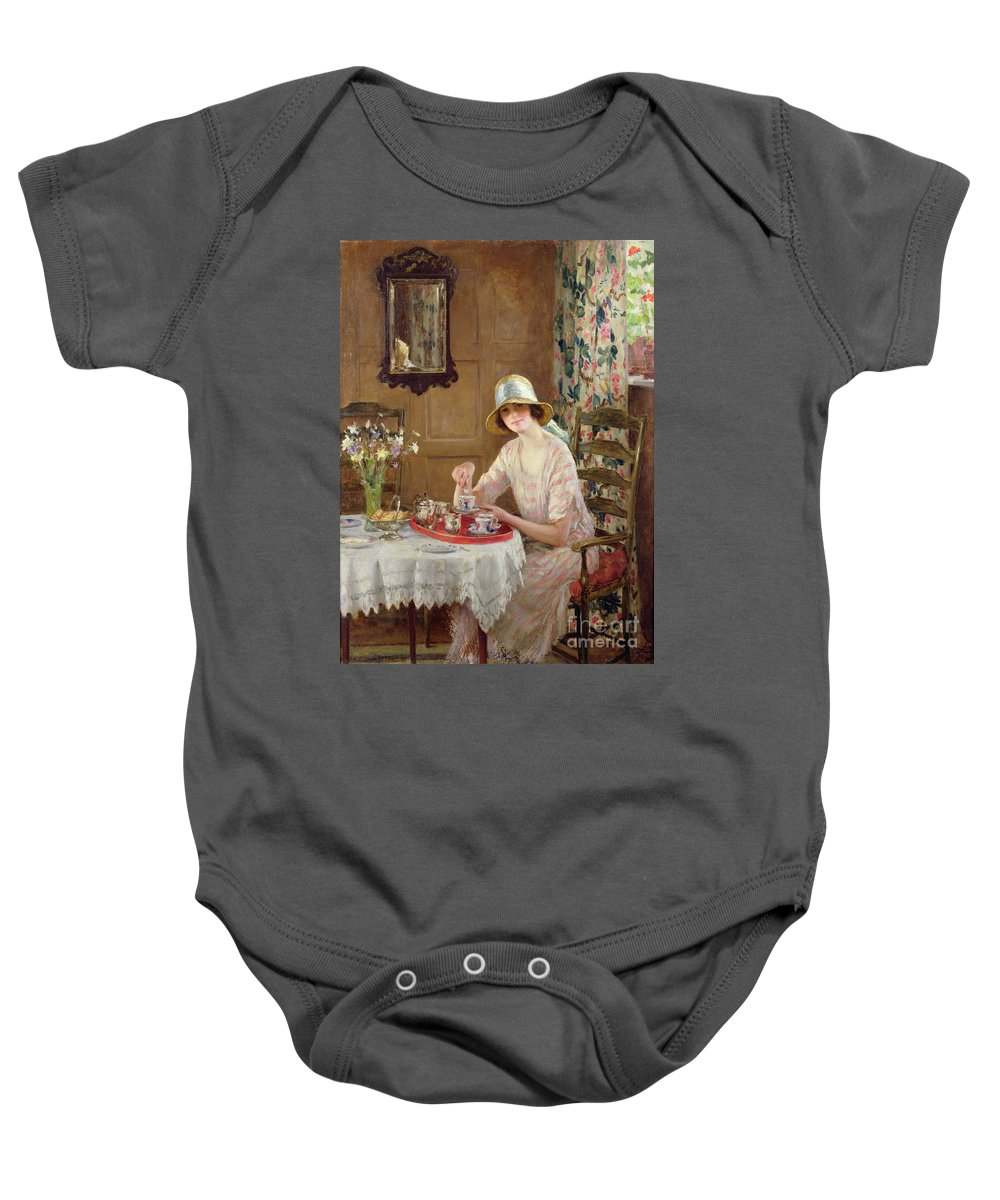 Woman Baby Onesie featuring the painting Afternoon Tea by William Henry Margetson