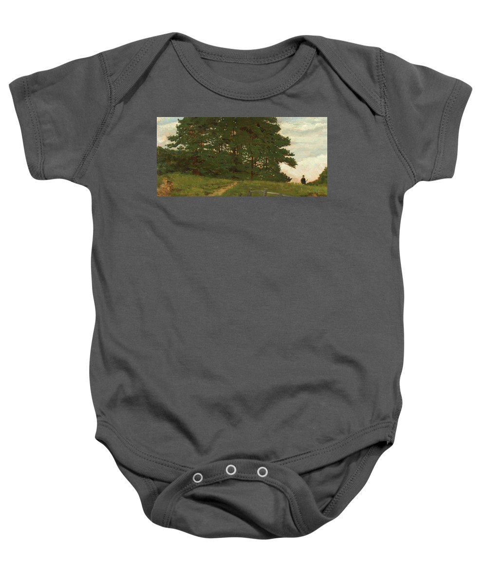 Wootton; Norfolk; England; English; Landscape; Summer; Summertime; Green; Grass; Tree; Trees; Figure; Walking; Fence; Field; Rural; Countryside Baby Onesie featuring the painting Afternoon Wootton by Henry Stacey Marks