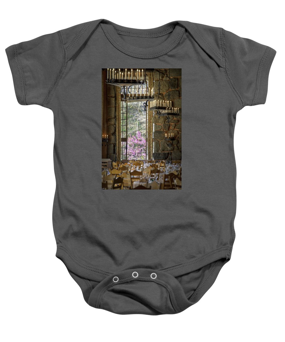 The Oldest And Most Famous Lodge In The Valley Baby Onesie featuring the photograph Ahwahnee Hotel--main Dining Room by Jon Zich