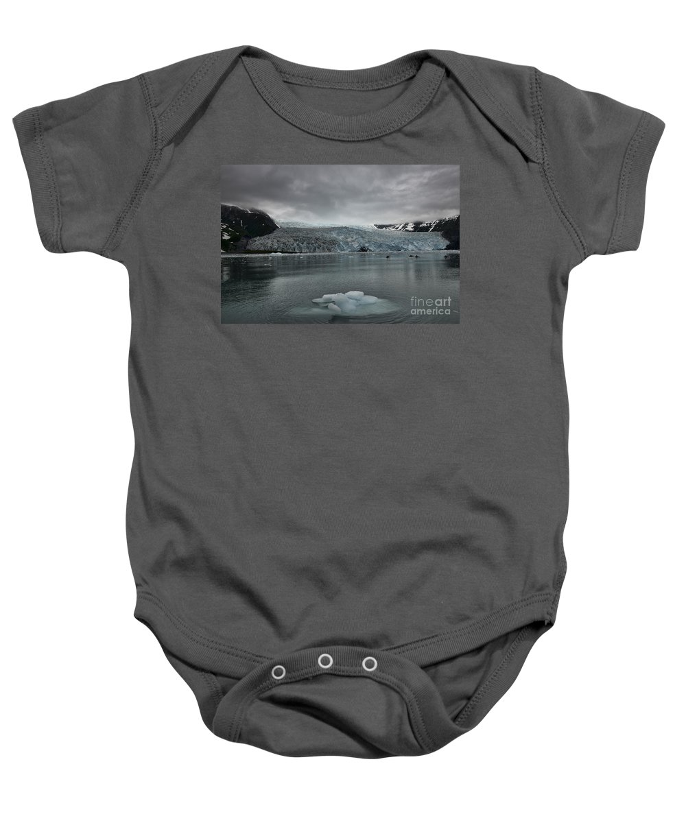 Aalick Glacier Baby Onesie featuring the photograph Aialik Glacier by David Arment