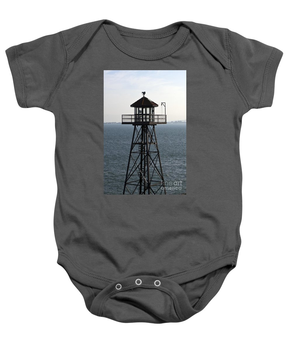 Watchtower Baby Onesie featuring the photograph Alcatraz Watchtower by Jason O Watson