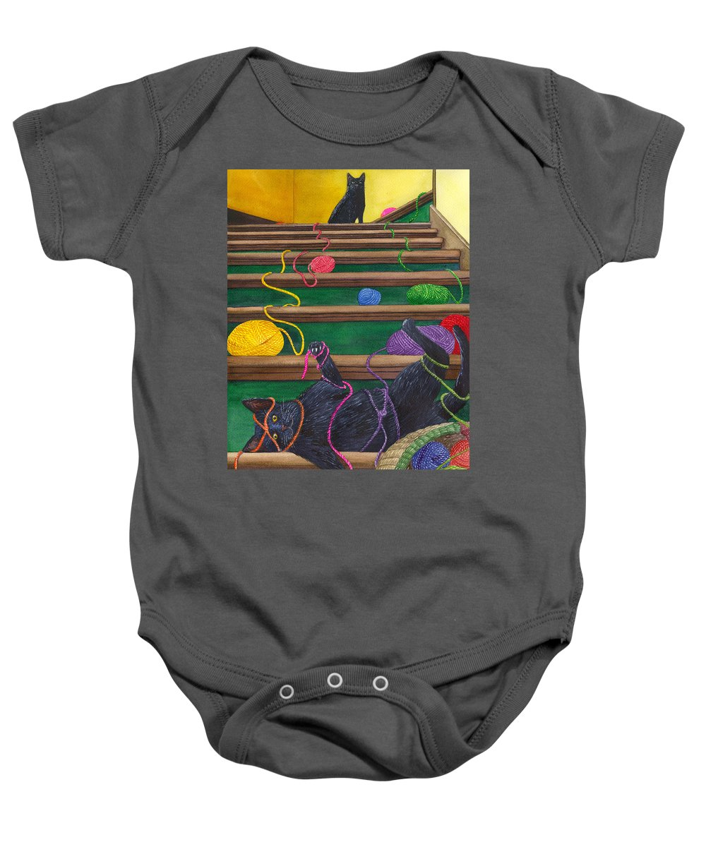 Cat Baby Onesie featuring the painting All Caught Up by Catherine G McElroy