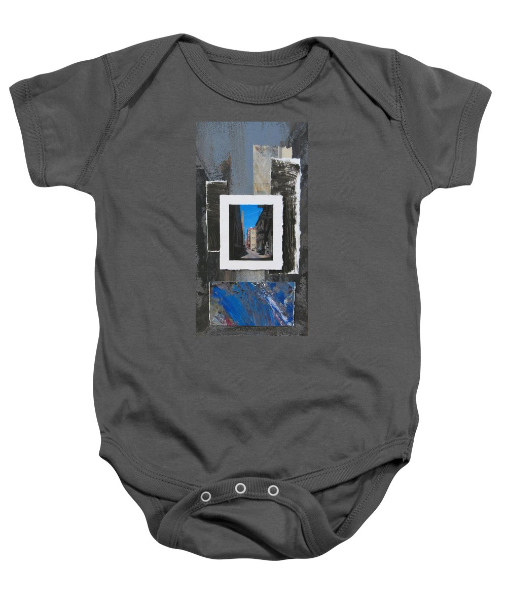 City Baby Onesie featuring the mixed media Alley 3rd Ward And Abstract by Anita Burgermeister