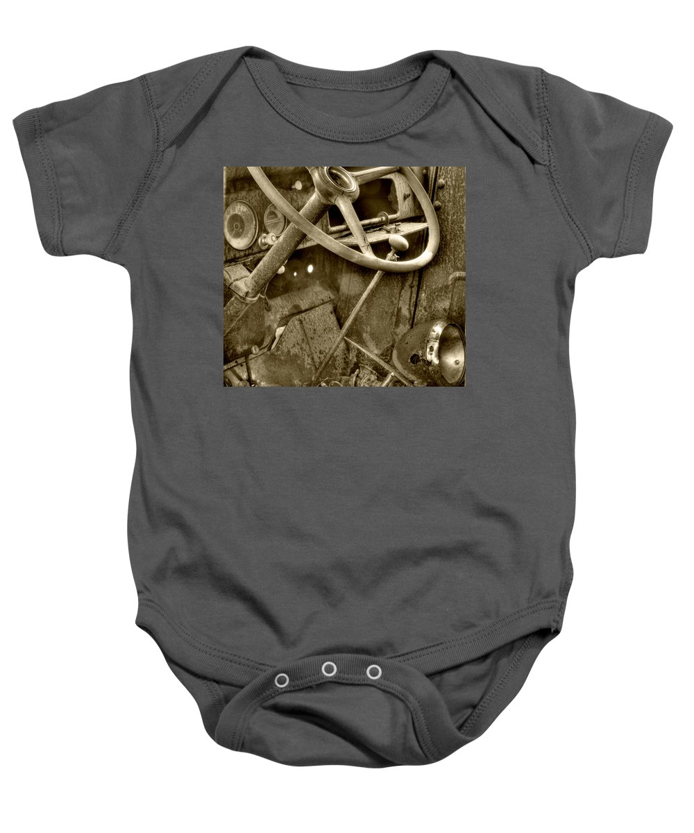 Very Old Chevrolet Baby Onesie featuring the photograph Almost Gone Sepia by Thomas Young