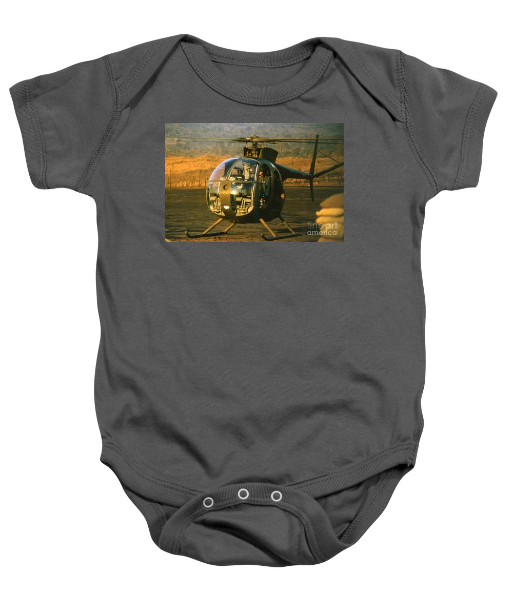 Oh-6 Cayuse Baby Onesie featuring the photograph Aloha Oh-6 Cayuse Light Observation  Helicopter Lz Oasis Vietnam 1968 by California Views Mr Pat Hathaway Archives