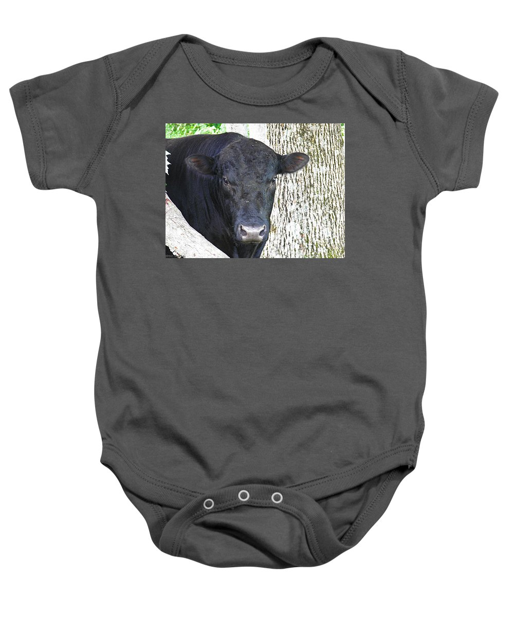Black Baby Onesie featuring the photograph Alot Of Bull by Nick Kirby