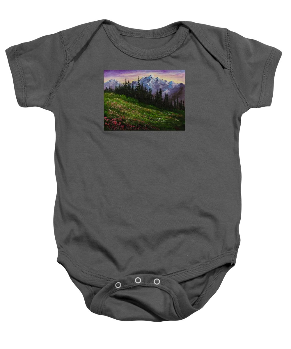 Landscape Baby Onesie featuring the painting Alpine Meadow by Chris Steele