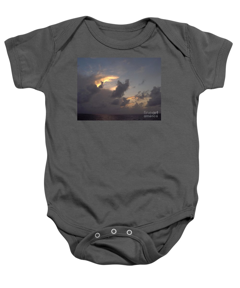 Clouds Baby Onesie featuring the photograph Amazing Clouds At Sunset by D Hackett