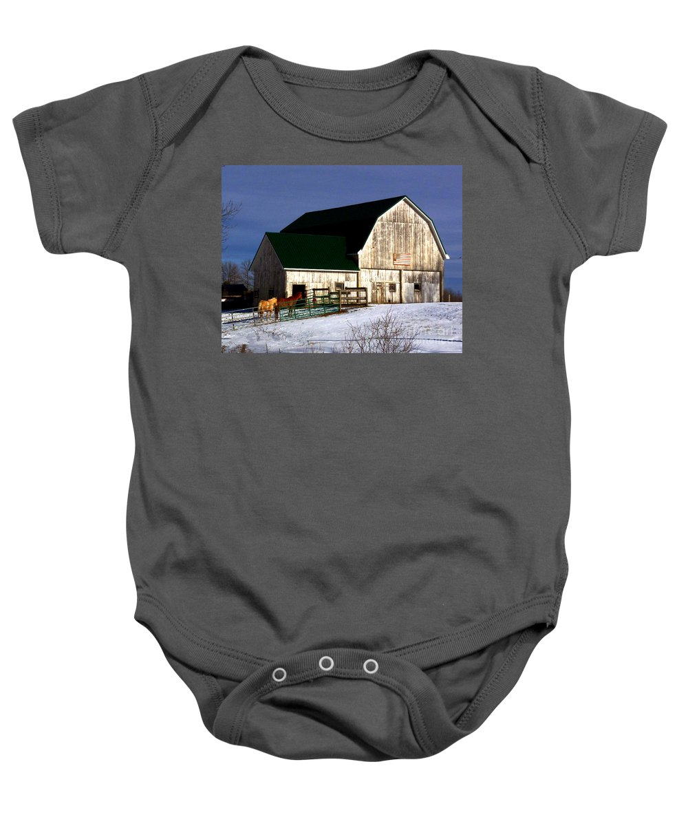 America Baby Onesie featuring the photograph American Barn by Desiree Paquette