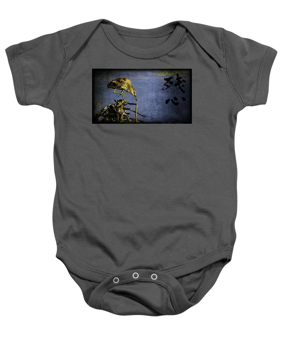 American Bittern Baby Onesie featuring the mixed media American Bittern With Brush Calligraphy Lingering Mind by Peter v Quenter
