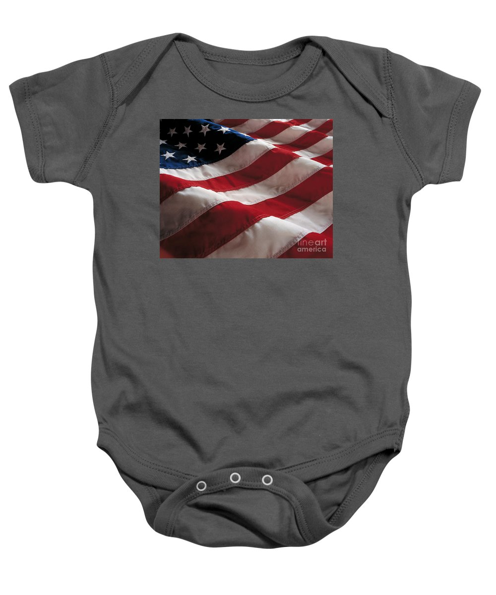 Old Glory Baby Onesie featuring the photograph American Flag by Jon Neidert